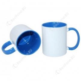 Принт на кружке синяя внутри и ручка