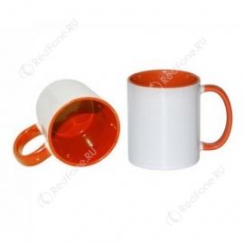 Принт на кружке оранжевая внутри и ручка