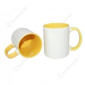 Принт на кружке желтая внутри и ручка