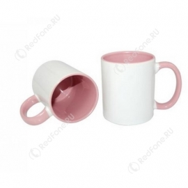 Принт на кружке розовая внутри и ручка