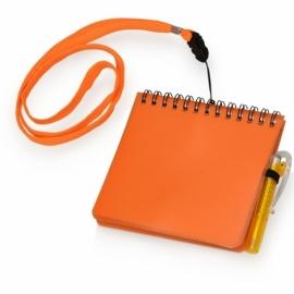 """Блокнот А6 """"Журналист"""" с ручкой, оранжевый"""