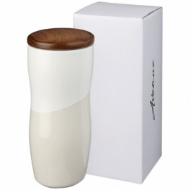 Двустенная керамическая термокружка Reno объемом 370мл, белый