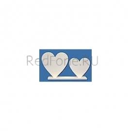 "Фоторамка Сердечки ""Двойное сердечко на подставке белое"", мдф 6 мм, подставка 200*45мм"