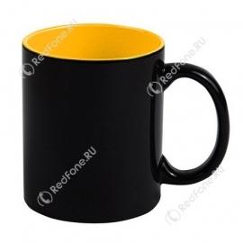 Кружка Хамелеон черная, внутри желтая