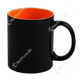 Кружка Хамелеон черная, внутри оранжевая