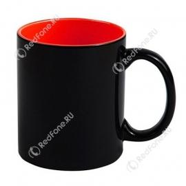 Кружка Хамелеон черная, внутри красная