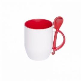 Кружка керамическая с ложкой, красная внутри и ручка