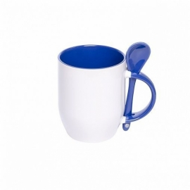 Кружка керамическая с ложкой, тёмно-синяя внутри и ручка