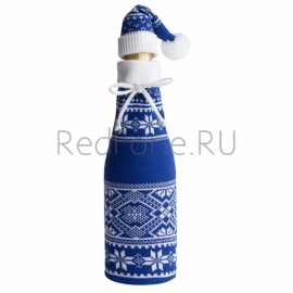 Чехол для шампанского с колпачком, синий (василек)