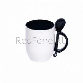 Кружка керамическая с ложкой, черная внутри и ручка